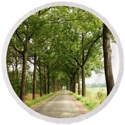 Cobblestone Country Road Round Beach Towel by Carol Groenen