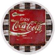 Coca Cola Signs Round Beach Towel