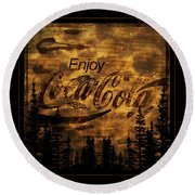 Coca Cola Wooden Sign Round Beach Towel
