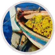 Colorful Boat Round Beach Towel
