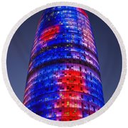 Colorful Elevation Of Modern Building Round Beach Towel
