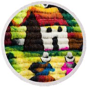 Colorful Fabric At Market In Peru Round Beach Towel