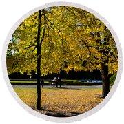 Colorful Fall Autumn Park Round Beach Towel