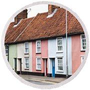 Colorful Houses Round Beach Towel
