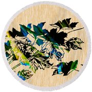 Colorful Leaves Round Beach Towel