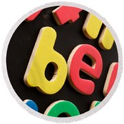 Colorful Letters Round Beach Towel