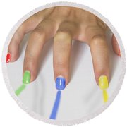 Colorful Nails Round Beach Towel