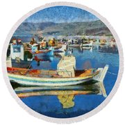 Colorful Boats Round Beach Towel