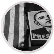 Commercialization Of The President Of The United States Of America In Black And White  Round Beach Towel by Rob Hans