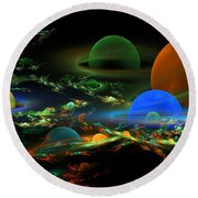 Computer Generated Spheres Abstract Fractal Flame Art Round Beach Towel