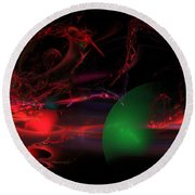 Computer Generated  Spheres Abstract Fractal Flame Modern Art Round Beach Towel