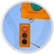 Confusing Green Red Traffic Lights Sky Copyspace Round Beach Towel