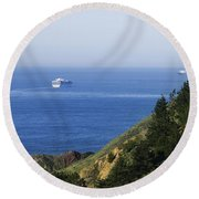 Container Ship On Open Water Round Beach Towel