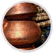 Copper Pots Round Beach Towel
