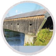 Cornish-windsor Covered Bridge  Round Beach Towel by Edward Fielding