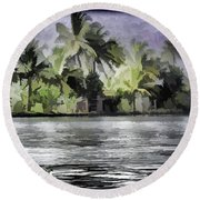 Cottage With Greenery All Around Round Beach Towel