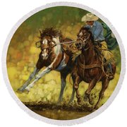 Rodeo Pickup Round Beach Towel