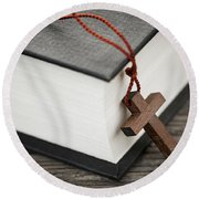 Cross And Bible Round Beach Towel