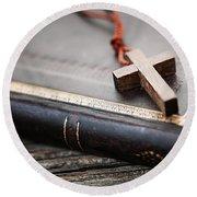 Cross On Bible Round Beach Towel