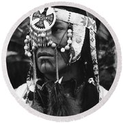 Crow Native American Traditional Dress Rodeo Gallup New Mexico 1969 Round Beach Towel