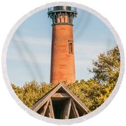 Currituck Beach Lighthouse On The Outer Banks Of North Carolina Round Beach Towel