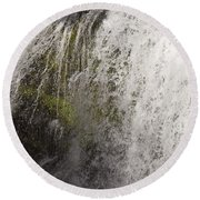 Curtain Of White Water Falling From Rocky Cliff Round Beach Towel