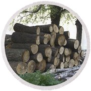 Cut Tree Trunks Piled Up For Further Processing After Logging Round Beach Towel
