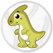 Cute Illustration Of A Parasaurolophus Round Beach Towel