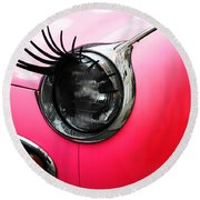 Cute Pink Car Round Beach Towel by Jasna Buncic