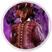 Dachshund Art Canvas Print Round Beach Towel