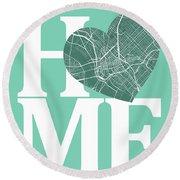 Dallas Street Map Home Heart - Dallas Texas Road Map In A Heart Round Beach Towel