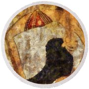 dancer of ancient Egypt Round Beach Towel