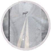 Danger Ahead Round Beach Towel by Edward Fielding