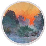 Dawn Mist Round Beach Towel