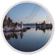 Dawn On Mono Lake Round Beach Towel