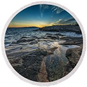 Day's End At Scoodic Point Round Beach Towel