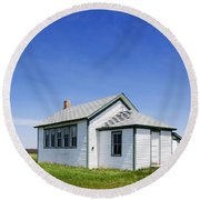 Defunct One Room Country School Building Round Beach Towel