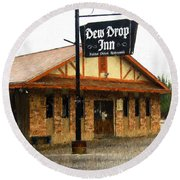 Dew Drop Inn Round Beach Towel
