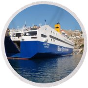 Diagoras Ferry Symi Round Beach Towel