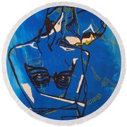 Dinka Painted Lady - South Sudan Round Beach Towel