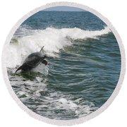 Dolphin Leap Round Beach Towel