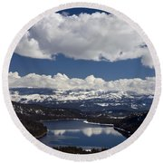 Donner Lake Donner Pass With Snow Round Beach Towel