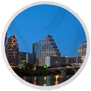 Downtown Austin Skyline Round Beach Towel