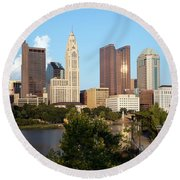Downtown Skyline Of Columbus Round Beach Towel