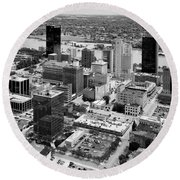 Downtown Skyline Of Toledo Ohio Round Beach Towel