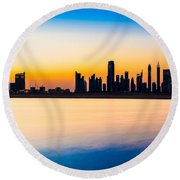Dubai Skyline At Dusk Round Beach Towel