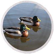 Ducks On Water Round Beach Towel