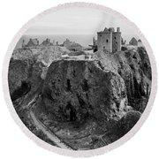 Dunnottar Castle Monochrome Round Beach Towel