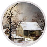Durrie's Winter In The Country Round Beach Towel