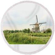 Dutch Landscape With Windmills Round Beach Towel